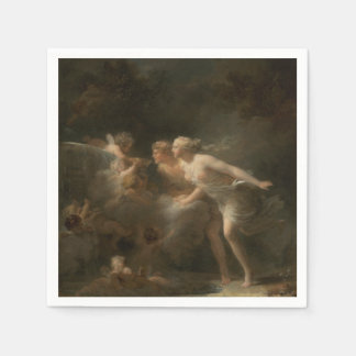 Fountain of Love by Jean-Honore Fragonard Paper Napkin