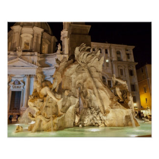 Fountain of the 4 Rivers, Piazza Navona, Rome Poster