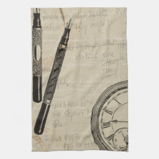 Fountain Pens and Watchface with Notes Kitchen Towel