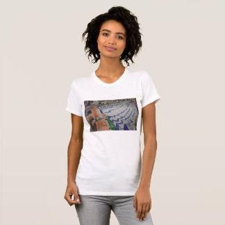 Fountain with Girl Irvine California Oil Painting T-Shirt