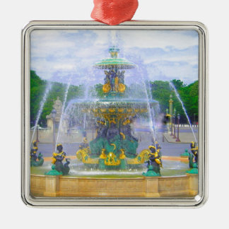 Fountains of Paris, I Silver-Colored Square Ornament