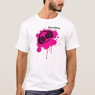 Four4ths :: Pink and Black splatter logo on White T-Shirt