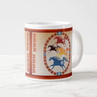 Four Ancient Horses Oval Large Coffee Mug