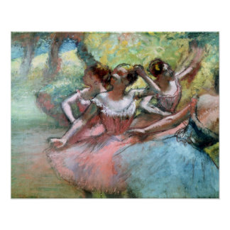 Four ballerinas on the stage poster