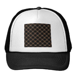 Four Bands Small Diamond - Cafe au Lait on Black Trucker Hat