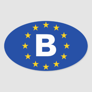 "FOUR Belgium ""B"" European Union Flag Oval Sticker"