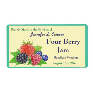 Four Berry Jam or Preserves Canning Jar Shipping Label