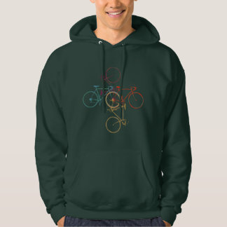 four bicycles. bikes, cycling hoodie