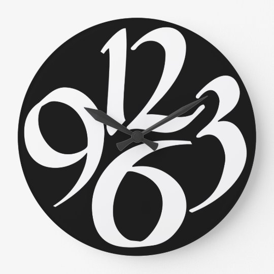 Four big white numbers on black wall clock