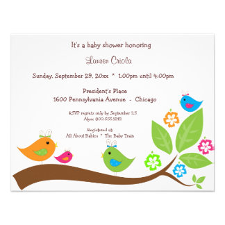 Four Birdies And Flowers Baby Shower Invitation