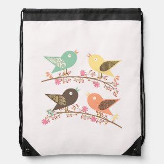 Four birds drawstring bag