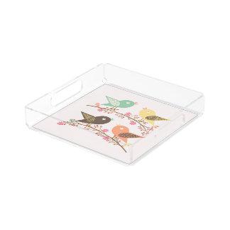 Four birds serving tray
