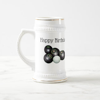 Four Black Lawn Bowls And Birthday Logo, Beer Stein