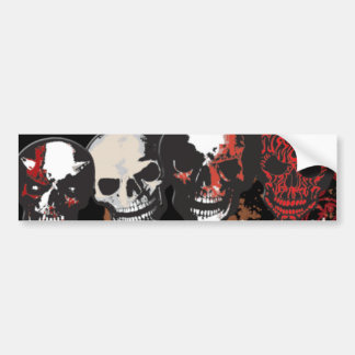 Four Bloody Skulls Scary Bumpersticker Bumper Sticker