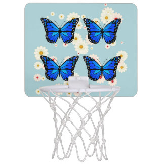 Four blue butterflies mini basketball hoop