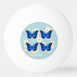 Four blue butterflies ping pong ball