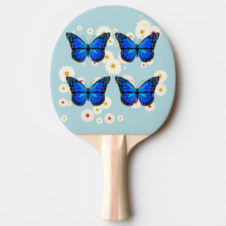 Four blue butterflies ping pong paddle
