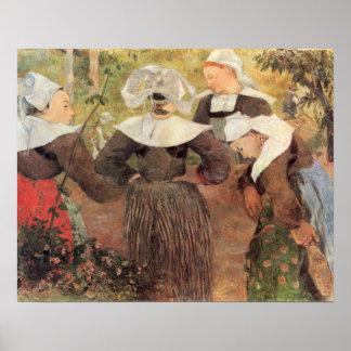 Four Breton Women by Paul Gauguin Poster
