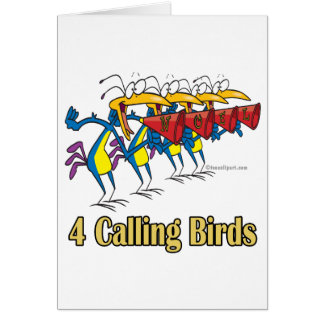 four calling birds 4th fourth day of christmas greeting card