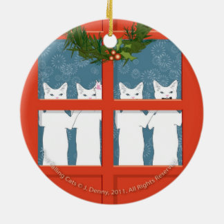 Four Calling Cats... double sided Ceramic Ornament