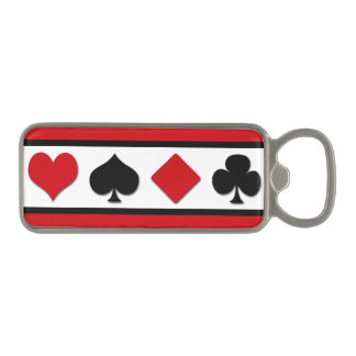 Four card suits magnetic bottle opener