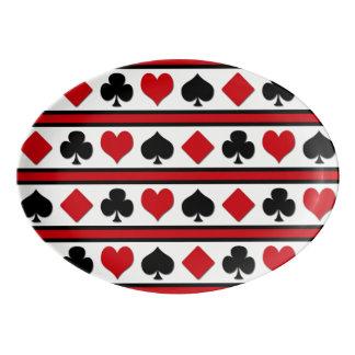 Four card suits porcelain serving platter