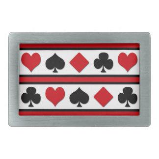 Four card suits rectangular belt buckle