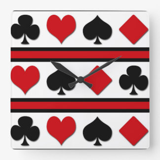 Four card suits square wall clock