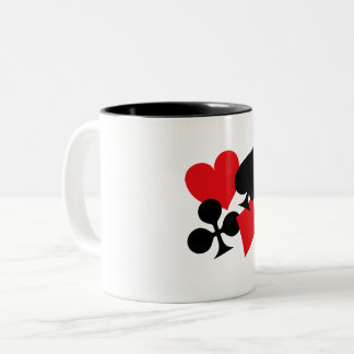 Four Card Suits Two-Tone Coffee Mug