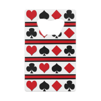 Four card suits wallet bottle opener