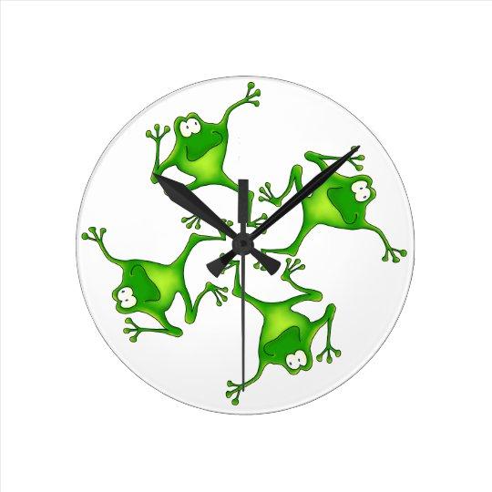 Four Cartoon Frogs Clock
