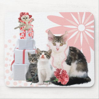 Four Cats Dressed in Pink with Bold Flowers Mouse Pad