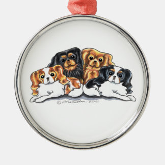 Four Cavalier King Charles Spaniels Silver-Colored Round Ornament