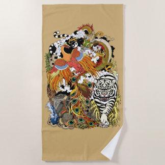 four celestial animals beach towel