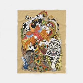 four celestial animals fleece blanket