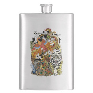 four celestial animals hip flask