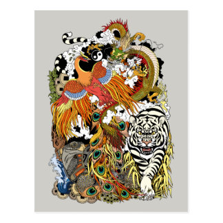 four celestial animals postcard