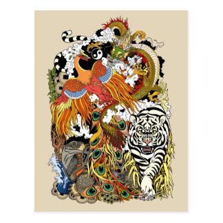 four celestial animals postcard