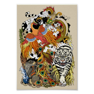 four celestial animals poster