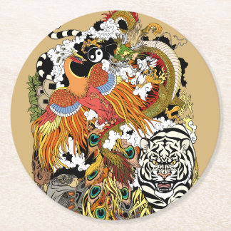 four celestial animals round paper coaster