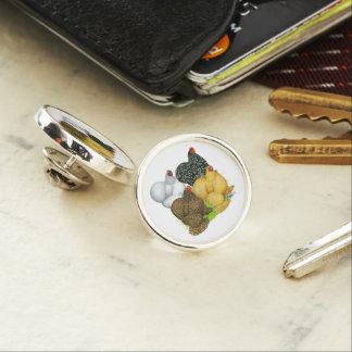 Four Cochin Hens Lapel Pin