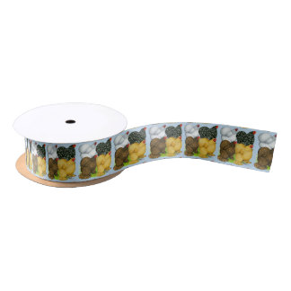 Four Cochin Hens Satin Ribbon