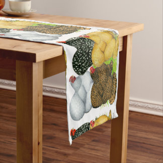 Four Cochin Hens Short Table Runner