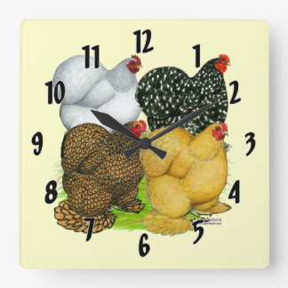 Four Cochin Hens Square Wall Clock