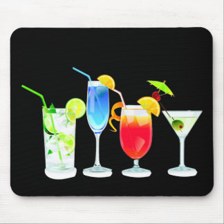 Four Cocktails on Black Mouse Pad