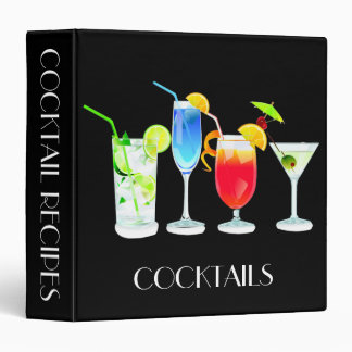 Four Cocktails on Black Vinyl Binders