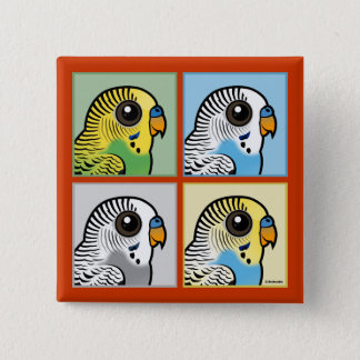Four Color Budgies 2 Inch Square Button