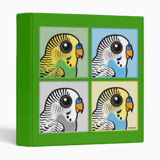 Four Color Budgies 3 Ring Binder