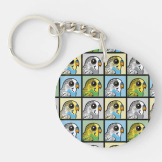 Four Color Budgies Keychain