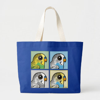 Four Color Budgies Large Tote Bag